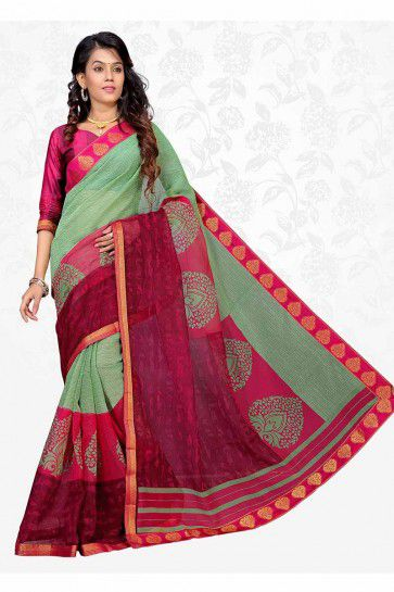 Pastel Green & Dark Pink color Cotton Silk saree