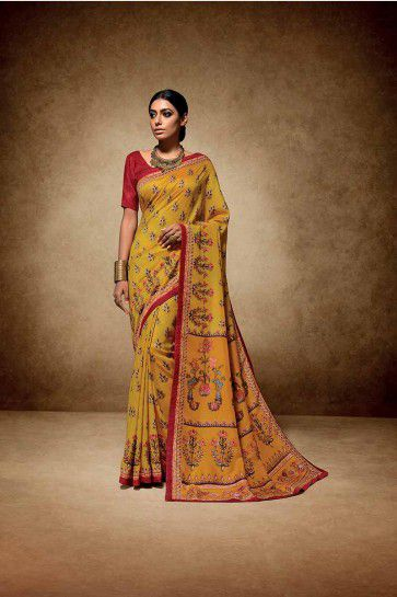 Yellow color Tussar Art Silk saree