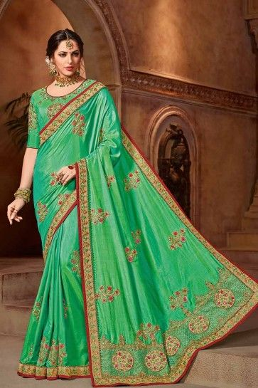 Sea Green color Art Silk saree