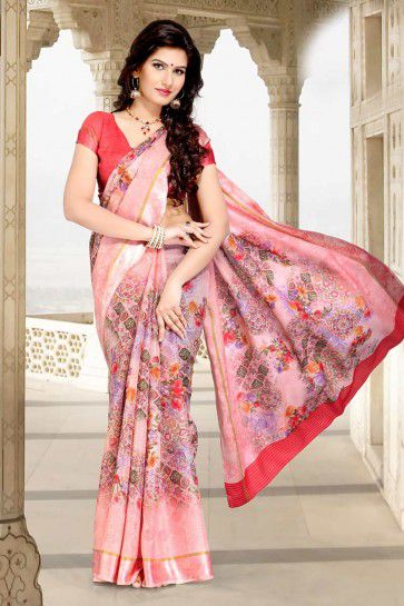 Baby Pink color Chanderi Cotton saree
