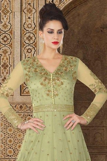 Mint Green color Net Anarkali Suit