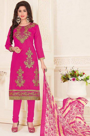 Pink color Chanderi Churidar Suit