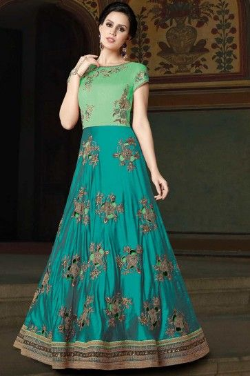 Tuquoise Blue & Sea Green color Art Silk Anarkali Suit