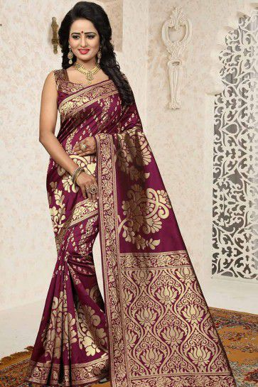 Wine color Banarasi Art Silk saree