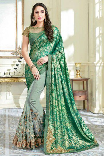 Green & Pastel Green color Lycra & Net saree