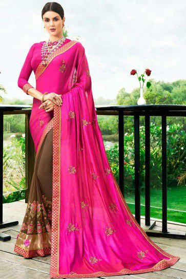 Hot Pink & Brown Satin Silk & Georgette saree