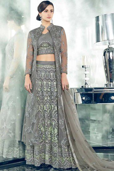 Grey color Net Anarkali Suit