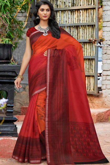 Maroon & Orange Cotton Silk saree