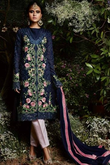 Navy Blue color Georgette Salwar Kameez
