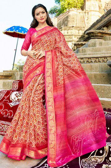 Pink & Cream Cotton Silk saree
