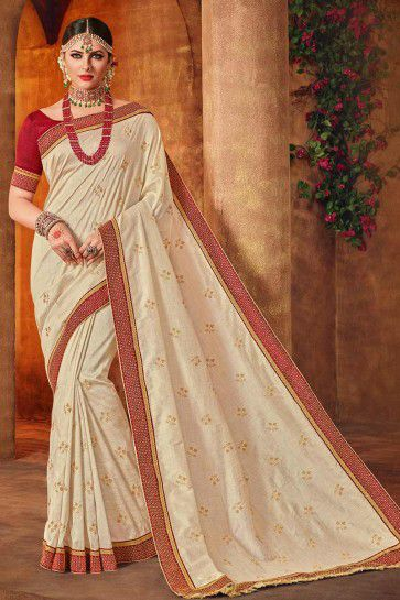 Off-White Art Silk saree