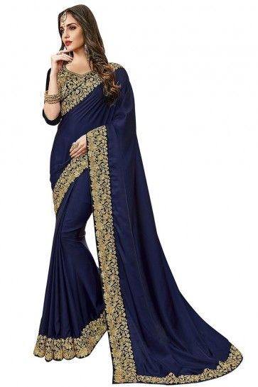 Navy Blue Satin Silk saree