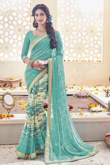 Sea Green Geogette, Chiffon Saree