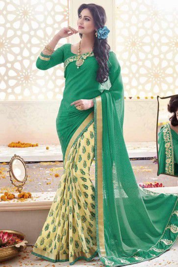 Green, Dark Cream Geogette, Chiffon Saree