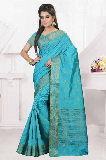 Light Aqua Nylon Art Silk Saree