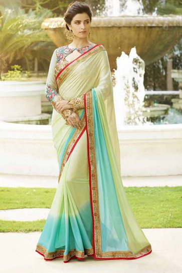 Green, Sky Blue Silk