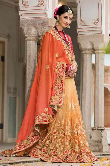 Orange, Dark Beige Silk, Net Saree