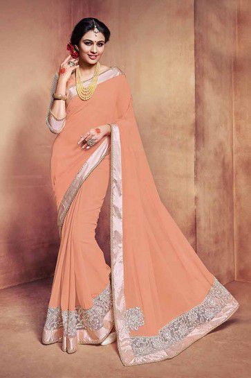 Baby Pink Georgette Saree