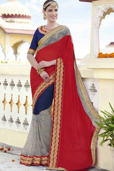 Red And Blue Chiffon , Georgette Saree