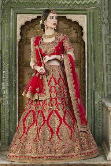 Red Silk Bridal Lahanga