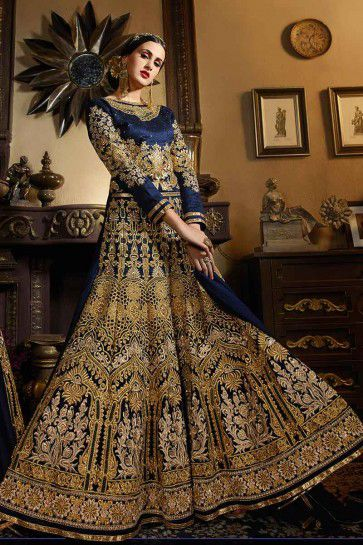 Navy Blue Banarsi Silk Anarkali Suit