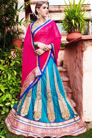 Teal Blue Net Lehenga Choli