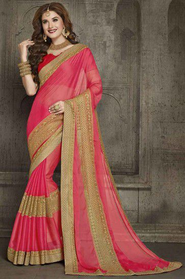 Pink Chiffon And Net Saree