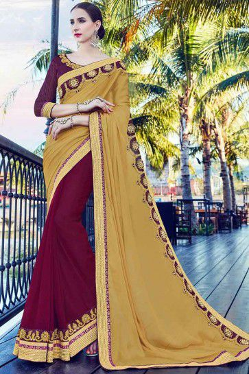 Dark Beige and maroon Moss chiffon and Georgette Saree