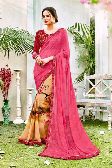 Pink & Beige color Georgette Saree