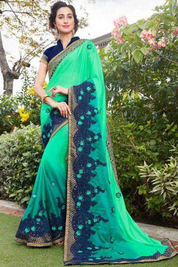 Sea Green color Silk Georgette Saree