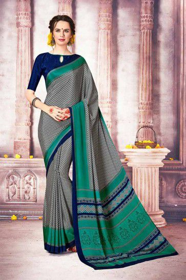 Grey color Crepe Silk Saree