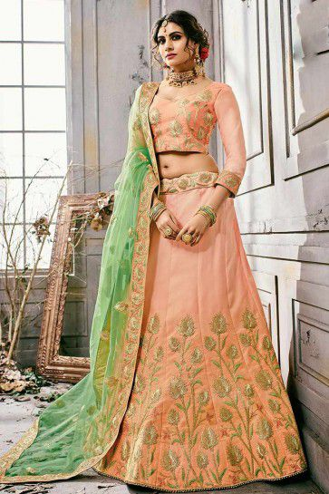 Peach color Satin Silk Lehenga Choli