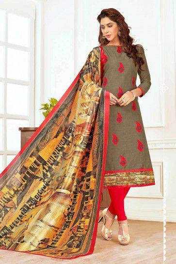 Grey color Cotton Churidar Suit