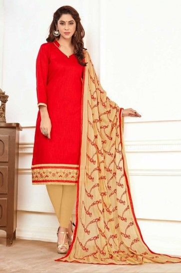 Red color Cotton Churidar Suit