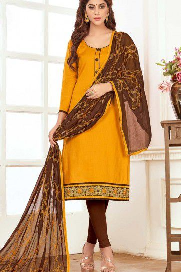 Musturd Yellow color Cotton Churidar Suit