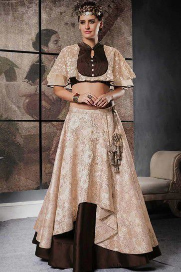 Beige & Brown color Jacquard Silk Indo-western lehenga