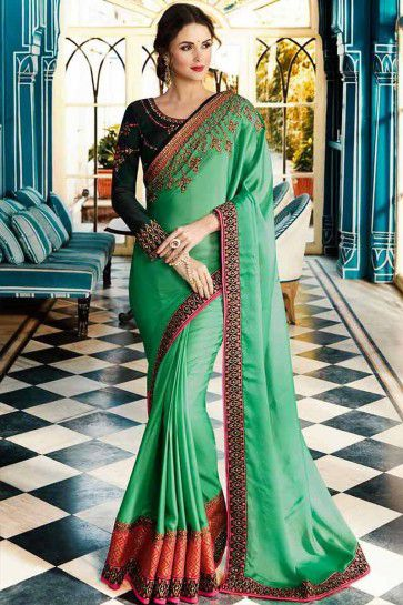 Light Green color Soft Silk saree