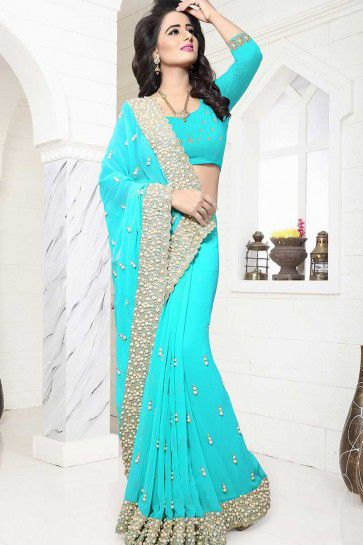 Turquoise Blue color Georgette saree