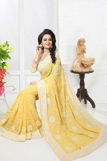Yellow color Georgette saree