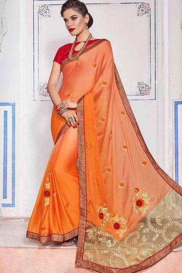 Peach & Yellow color Chiffon saree