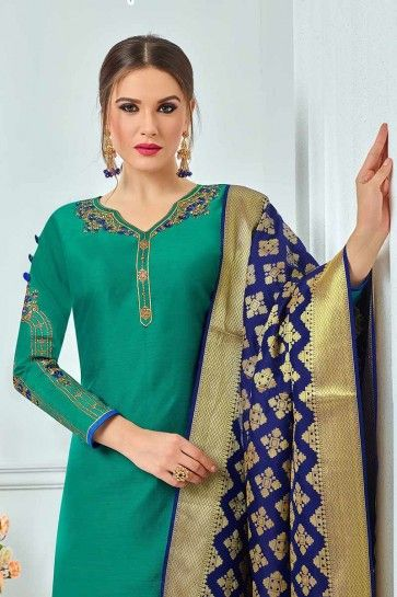 costume couleur vert coton Chanderi churidar