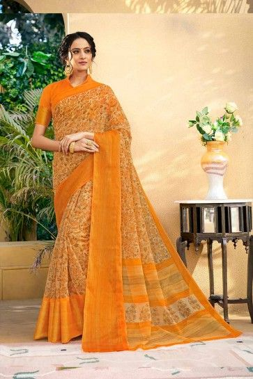 orange art Chanderi saris en soie