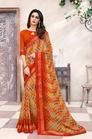 beige et orange georgette sari