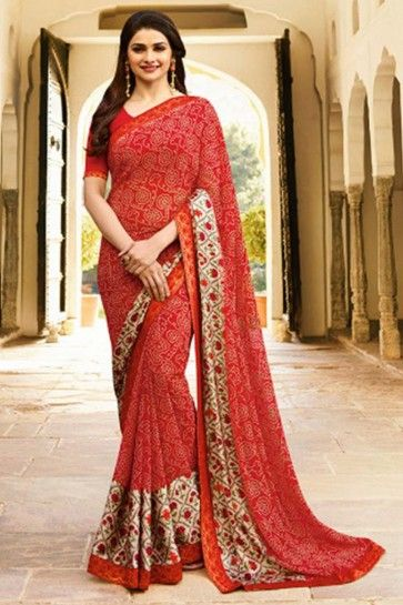 couleur rouge georgette sari