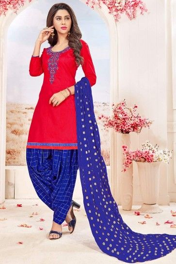 costume coton couleur rouge Patiala