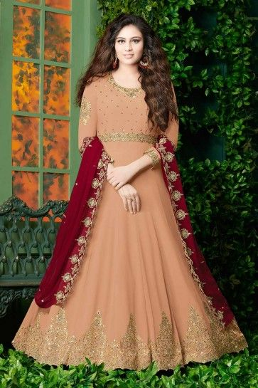 couleur pêche georgette costume Anarkali