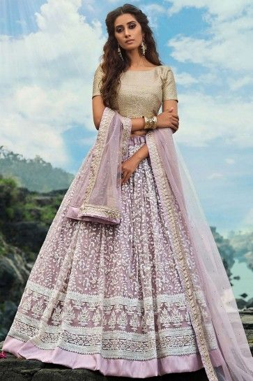 filet lilas lehenga choli