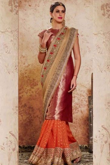 Cream & Pink LYCRA SHINE GEORGETTE & HALF BANARSI VISCOSE GEORGETTE Saree