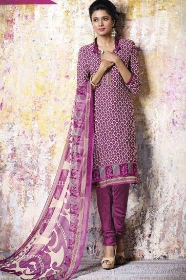 Magenta Crepe Churidar Suit