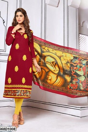 Maroon color Khadi Cotton Churidar Suit
